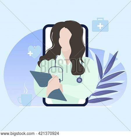 Immediately Medical Consultation With Practitioner, Online Healthcare And Help Use Smartphone, Physi
