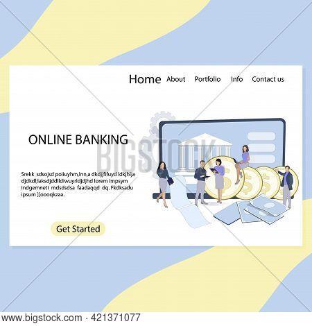 Online Banking Landing Page Design, Fintech Digital. Vector Payment Online Account, Earnings Finance