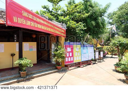 Hoi An, Vietnam, May 23, 2021: Courtyard Of The Dinh Cam Pho Temple Enabled To Vote In The Xv Parlia