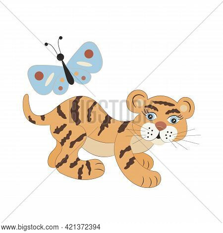 Cute Cartoon Baby Tiger And Butterfly. A Blue Moth Flies Around A Funny Kid Animal. Happy Childhood,
