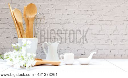 Kitchen Tools And Kitchenware Utensil Object On Kitchen Shelf Wood White For Healthy Eat And Health