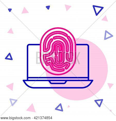 Line Laptop With Fingerprint Icon Isolated On White Background. Id App Icon. Identification Sign. To