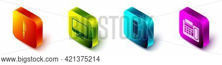 Set Isometric Pen, Computer Monitor Screen, Marker Pen And Telephone Icon. Vector