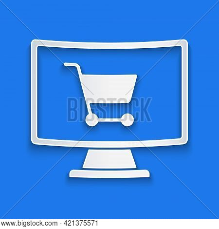 Paper Cut Shopping Cart On Screen Computer Icon Isolated On Blue Background. Concept E-commerce, E-b