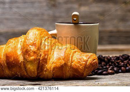 Freshly Baked Golden Brown French Croissants. Tasty Baked Croissants, Warm Buttery Croissants With C