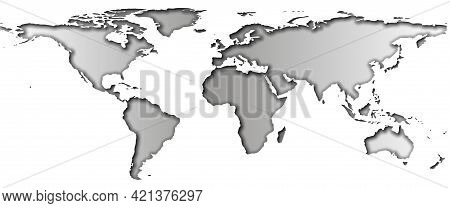 Papercut World Map With Shadows And Gradient On Continents And Isolated On White Background, Monochr