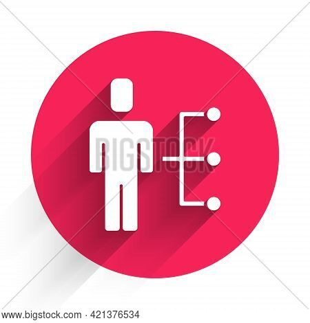 White User Of Man In Business Suit Icon Isolated With Long Shadow. Business Avatar Symbol User Profi