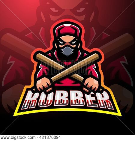 Vector Illustration Of Robber Mascot Esport Logo Design