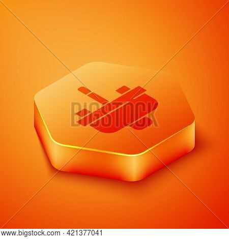 Isometric Washbasin With Water Tap Icon Isolated On Orange Background. Orange Hexagon Button. Vector