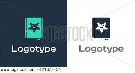 Logotype Ancient Magic Book With Alchemy Recipes And Mystic Spells And Enchantments Icon Isolated On