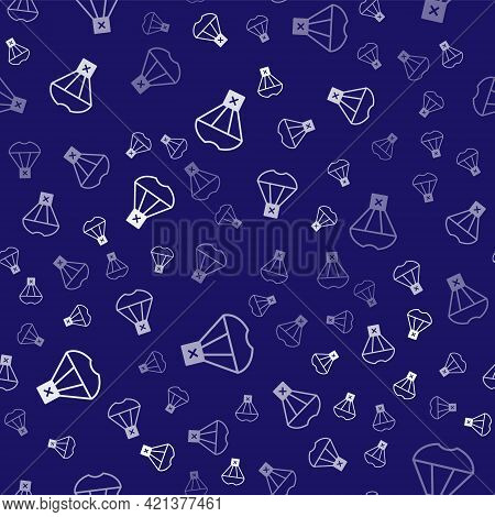 White Box Flying On Parachute Icon Isolated Seamless Pattern On Blue Background. Parcel With Parachu