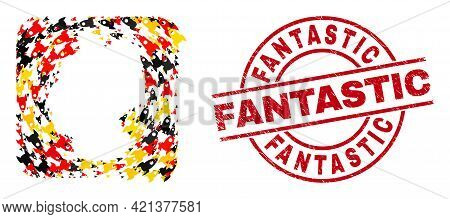 Germany Geographic Map Mosaic In Germany Flag Official Colors - Red, Yellow, Black, And Rubber Fanta