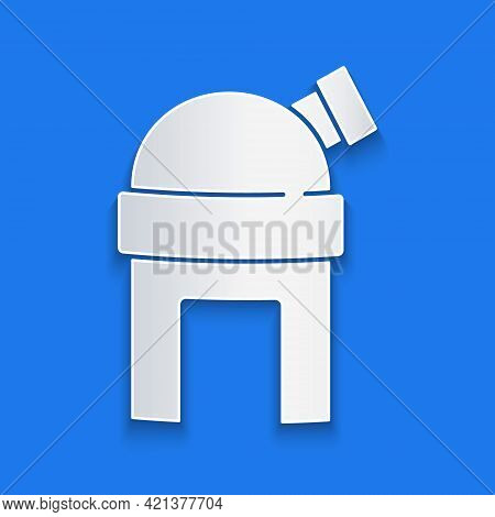 Paper Cut Astronomical Observatory Icon Isolated On Blue Background. Observatory With A Telescope. S