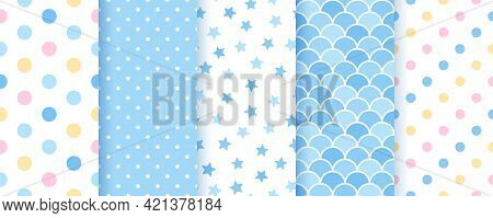 Seamless Pastel Pattern. Prints For Scrapbook, Baby Shower, Birth Party. Blue Baby Boy Backgrounds.