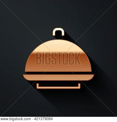 Gold Covered With A Tray Of Food Icon Isolated On Black Background. Tray And Lid Sign. Restaurant Cl
