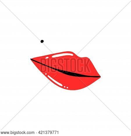 Red Lips And Mole. Female Sexy Lipstick Modern Poster Or Card. Woman Lip With Makeup, Trendy Glamour