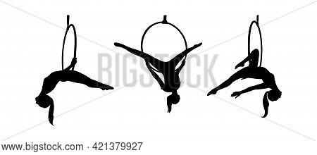 Strong Acrobat In The Hoop. Set Of Woman Silhouettes In The Aerial Ring. Vector Illustration Isolate