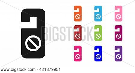Black Please Do Not Disturb Icon Isolated On White Background. Hotel Door Hanger Tags. Set Icons Col