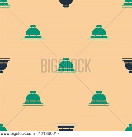Green And Black Hotel Service Bell Icon Isolated Seamless Pattern On Beige Background. Reception Bel