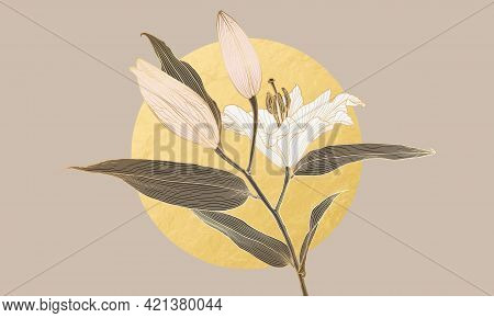 Luxury Art Deco Lily Flower Golden Linear Drawing And Gold Foil Circle Moon. Wallpaper Design For Pr
