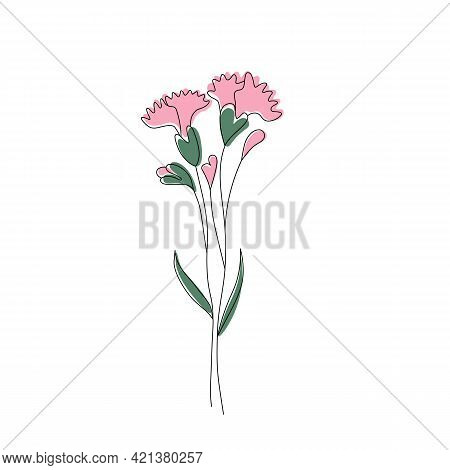 Minimalist Modern Pink Carnation Flower, Line Art With Colorful Abstract Shapes. Trendy One Line Dra