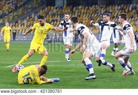 Kyiv, Ukraine - March 28, 2021: Roman Yaremchuk Of Ukraine (#9) Kicks A Ball During The Fifa World C
