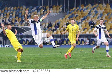 Kyiv, Ukraine - March 28, 2021: Paulus Arajuuri Of Finland Attacks During The Fifa World Cup 2022 Qu