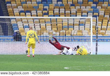 Kyiv, Ukraine - March 28, 2021: Junior Moraes Of Ukraine (r, #19) Scores A Goal During The Fifa Worl