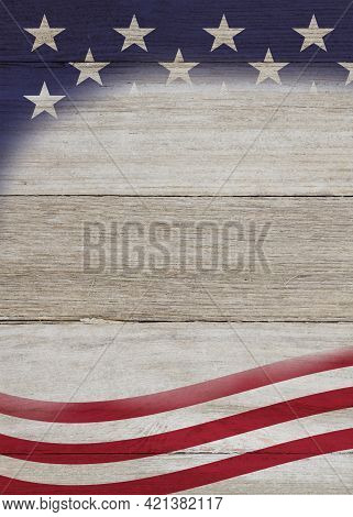 Retro American Patriotic Background With Grunge Usa Flag Stars On Weathered Wood With Copy Space For