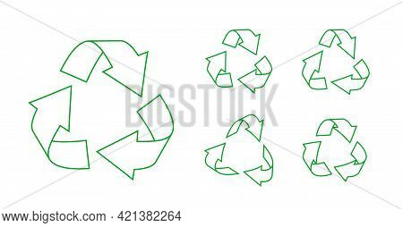 Green Outline Triangular Recycling Icons Set. Rotate Recycle Arrows Symbols. Eco Rotation, Infograph