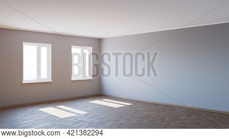8k Ultra Hd Empty Corner Of The Interior Bathed In Sunlight With Parquet Floor, Two White Plastic Wi
