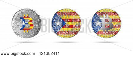 Three Bitcoin Crypto Coins With The Flag Of Catalonia. Money Of The Future. Modern Cryptocurrency Ve