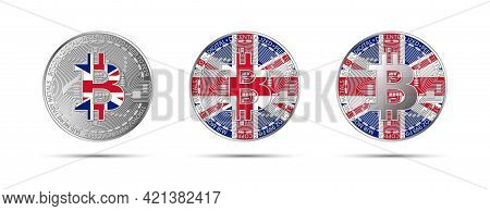 Three Bitcoin Crypto Coins With The Flag Of Great Britain. Money Of The Future. Modern Cryptocurrenc