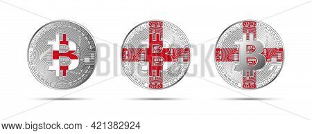 Three Bitcoin Crypto Coins With The Flag Of England. Money Of The Future. Modern Cryptocurrency Vect