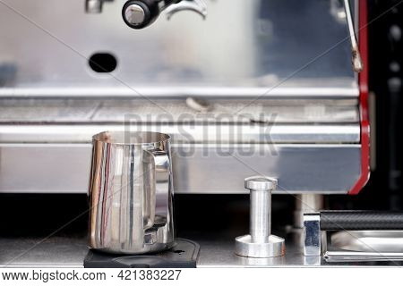 Mobile Coffee Shop. A Fragment Of A Coffee Machine With A Metal Pitcher And A Coffee Tempera. Select