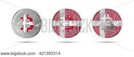 Three Bitcoin Crypto Coins With The Flag Of Denmark. Money Of The Future. Modern Cryptocurrency Vect