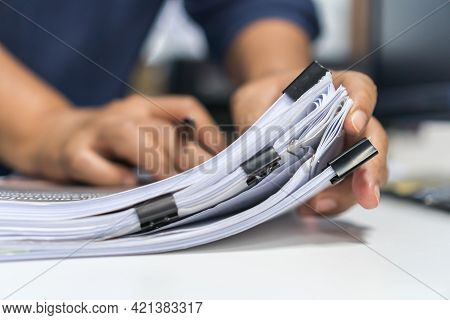 Paperwork Files Searching Information Business Concept, Businessman Hands Typing Keyboard Computer,