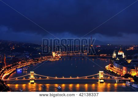 Falling night over Budapest, Hungary, Europe