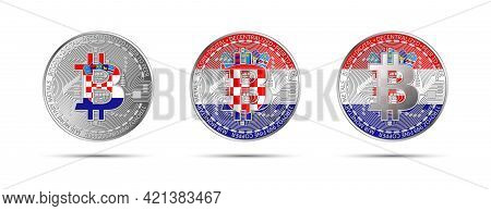 Three Bitcoin Crypto Coins With The Flag Of Croatia. Money Of The Future. Modern Cryptocurrency Vect