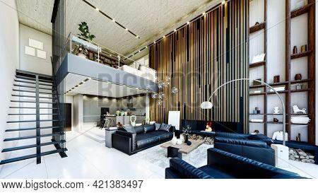 3d render of modern luxurious home interior
