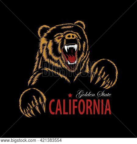 Vector Image Of A Bear. Template For Printing, Engraving, Banner, Flyer. California.