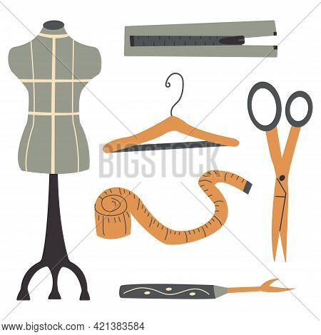 Set Of Items For Sewing Clothes. Mannequin And Hanger, Centimeter And Scissors, Ripper And Zipper. C