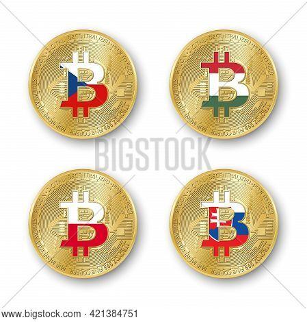 Four Golden Bitcoin Coins With Flags Of Czech Republic, Hungary, Poland And Slovakia. Vector Cryptoc