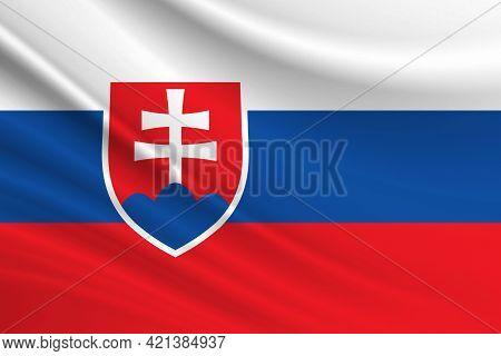 Flag Of Slovakia. Fabric Texture Of The Flag Of Slovakia.