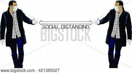 Social Distancing, Please Keep Social Distance Illustration With Characters. Covid-19 Prevention Vec
