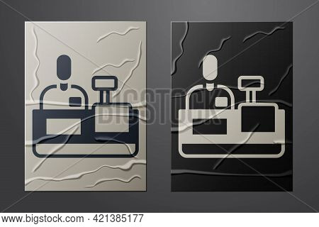 White Cashier At Cash Register Supermarket Icon Isolated On Crumpled Paper Background. Shop Assistan
