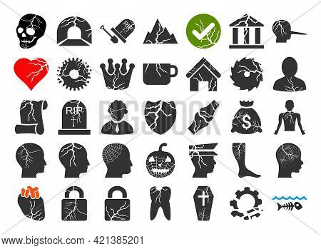 35 Decay Icons In Flat Style. 35 Decay Icons Is A Vector Icon Set Of Destruction, Damage, Corruption