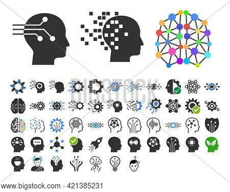 50 Intellect Icons In Flat Style. 50 Intellect Icons Is A Vector Icon Set Of Brain, Ai, Logic, Memor