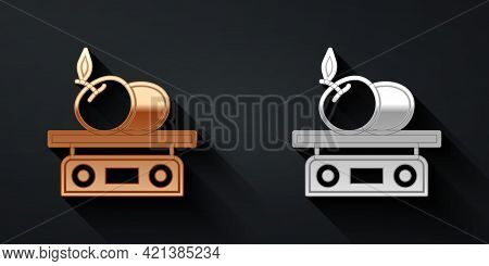 Gold And Silver Electronic Scales For Product Icon Isolated On Black Background. Weight For Food. We