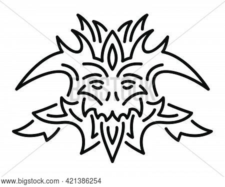 Beautiful Monochrome Vector Linear Illustration With Stylized Cartoon Demon Head Isolated On The Whi